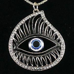 Jewelry - Large Art Deco Crystal Enamel Eye Pendant Necklace
